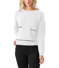 belldini women's black label metal chain crewneck pullover sweater