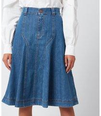 see by chloé women's midi skirt - deep denim - eu 42/uk 14