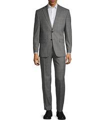 slim-fit wool-blend plaid suit