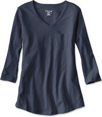 1856 organic cotton three-quarter-sleeved tee, deep navy, small