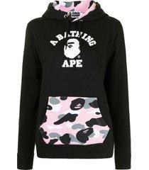 a bathing ape® logo-print pouch-pocket hoodie - black