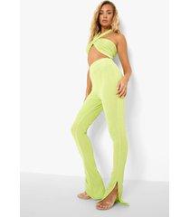 gerecyclede strakke geribbelde leggings met split, green