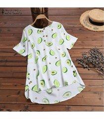 zanzea verano de las mujeres de aguacate imprimir top tee camiseta de la moda del blusa de las señoras -blanco