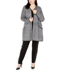 belldini plus size cardigan with faux-leather trim