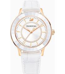orologio octea lux, cinturino in pelle, bianco, pvd oro rosa