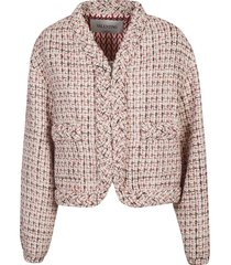 valentino woven trimmed tweed jacket
