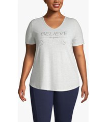 lane bryant women's active believe in your dreams strappy-back tee 22/24 light grey heather