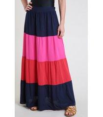 saia feminina longa color block com recortes azul marinho