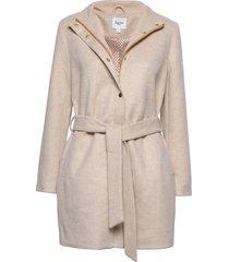 u7002, woven coat wollen jas lange jas beige saint tropez