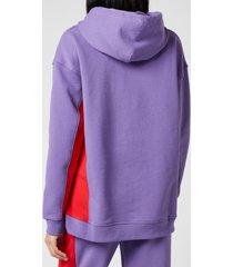 ganni women's software block isoli hooded top - deep lavender - l/xl