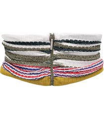 missoni embroidered zipped waist belt - white