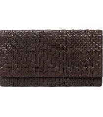 patricia nash new brown woven leather trifold teressa wallet clutch