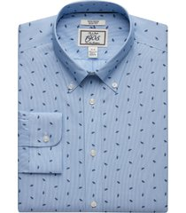 jos. a. bank men's 1905 collection slim fit button-down collar leaf & stripe dress shirt - big & tall clearance, blue, 16 1/2x36