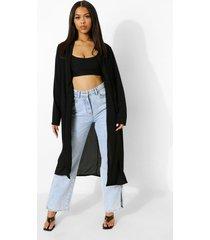 duster jas met kraag, black
