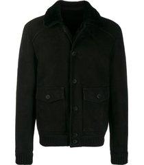 salvatore santoro sheepskin bomber jacket - black