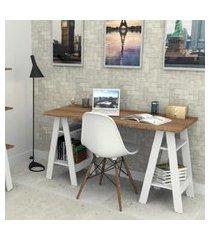 mesa escrivaninha castanho branco lilies móveis