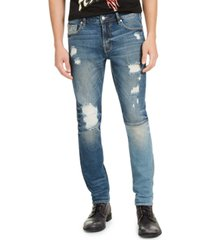 guess men's skinny-fit paneled & destroyed indigo jeans