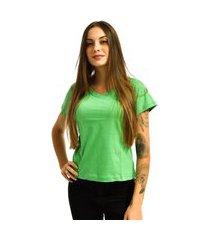 camiseta nakia gola v básica feminina lisa malha manga curta verde