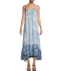 intimately free people women's tie-dyed maxi slip dress - flower combo - size m