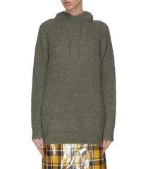 wool knit hoodie