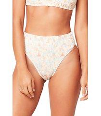 women's l space barlette bitsy bikini bottoms, size small - pink