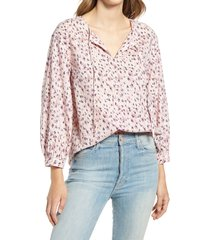 caslon(r) tie front popover top, size xx-small in ivory- pink reed grass at nordstrom