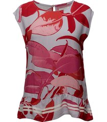 moss crepe top w. branch print & st blouses short-sleeved röd coster copenhagen