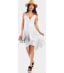 casie polka dot ruffle dress - white