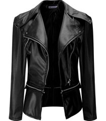 black zip front faux leather notch collar jacket