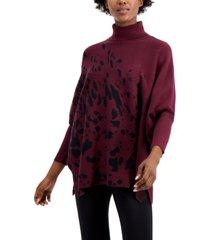 alfani printed drop-shoulder turtleneck sweater, regular & petite sizes, created for macy's