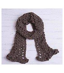 alpaca blend scarf, 'chocolate elegance' (peru)