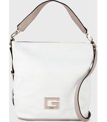 bolso blanco-rosa guess