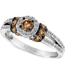 le vian chocolatier diamond halo ring (3/4 ct. t.w.) in 14k white gold