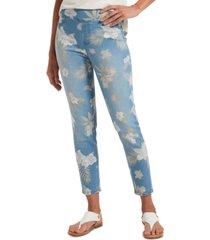 hue women's tropical orchid ultra soft denim high-waist skimmer leggings