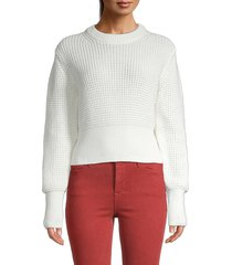 french connection women's waffle cotton sweater - utility blue - size l