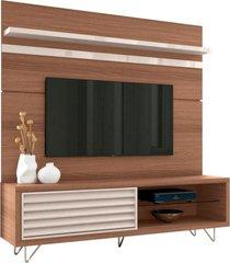 bancada e painel para tv até 70 polegadas venezza nature/off white - hb móveis