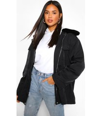 lichte parka jas met faux fur kraag, zwart