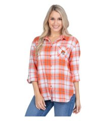 ug apparel oklahoma state cowboys women's flannel boyfriend plaid button up shirt