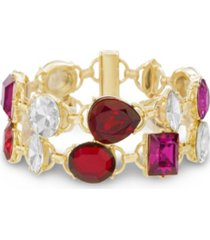 catherine malandrino women's red, white and hot pink rhinestone 2-row yellow gold-tone link bracelet