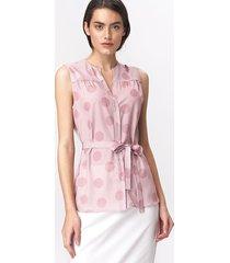 urocza różowa bluzka bez rękawów - grochy