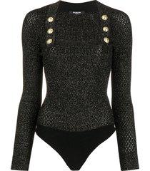 balmain button-detail knit bodysuit - black
