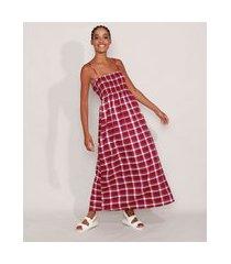 vestido amplo estampado xadrez longo alça fina decote reto vinho