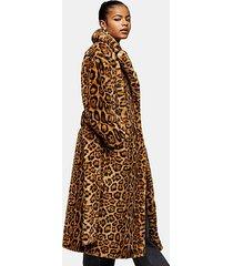 leopard print faux fur belted coat - brown