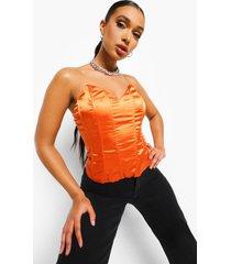 satijnen korset top, orange