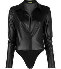 gauge81 spread-collar shirt bodysuit - black