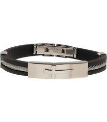 bracelete de aço com silicone e cabo náutico tudo jóias chapa com cruz black