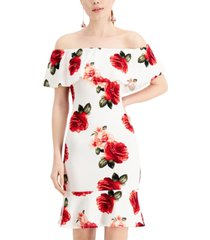 almost famous juniors' floral off-the-shoulder dress