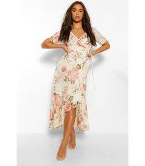 bloemenprint midaxi wikkel jurk met ruches, wit