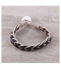 men's leather braided bracelet, 'earthy combo' (india)