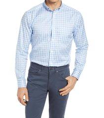 men's johnston & murphy gingham cotton twill button-down shirt, size small - blue